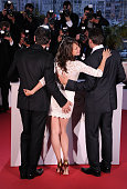 Director Michel Hazanavicius actress Berenice Bejo and Jean Dujardin after he receives the Award for Best Actor for the film 'The Artist' during the...