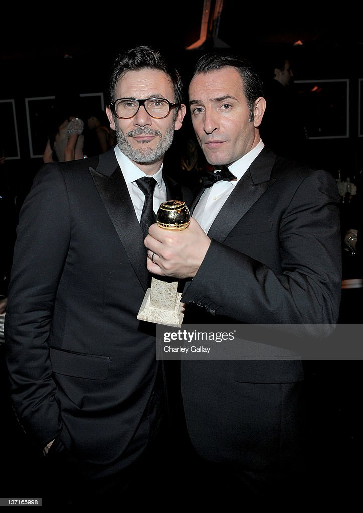 Director <a gi-track='captionPersonalityLinkClicked' href=/galleries/search?phrase=Michel+Hazanavicius&family=editorial&specificpeople=678372 ng-click='$event.stopPropagation()'>Michel Hazanavicius</a> (L) and actor <a gi-track='captionPersonalityLinkClicked' href=/galleries/search?phrase=Jean+Dujardin&family=editorial&specificpeople=620972 ng-click='$event.stopPropagation()'>Jean Dujardin</a> attends The Weinstein Company's 2012 Golden Globe Awards After Party with Chopard, Marie Claire and HP at The Beverly Hilton hotel on January 15, 2012 in Beverly Hills, California.