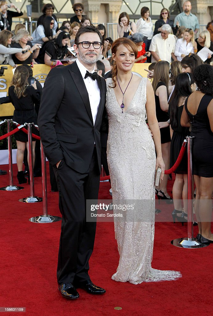 Director Michel Hazanavicius (L) and actress Berenice Bejo arrive at the 18th Annual Screen Actors Guild Awards held at The Shrine Auditorium on January 29, 2012 in Los Angeles, California.