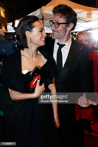 Director Michel Hazanavicius and his wife actress Berenice Bejo attend dinner after the 39th Cesar Film Awards 2014 at Le Fouquet's on February 28...