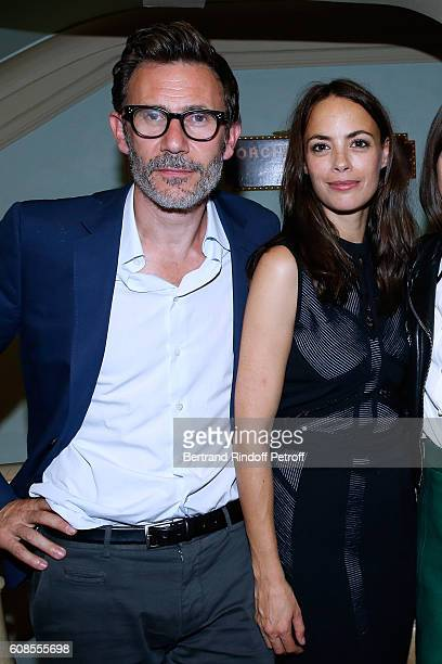 Director Michel Hazanavicius and his wife actress of the play Berenice Bejo attend the 'Tout ce que vous voulez' Theater Play at Theatre Edouard VII...