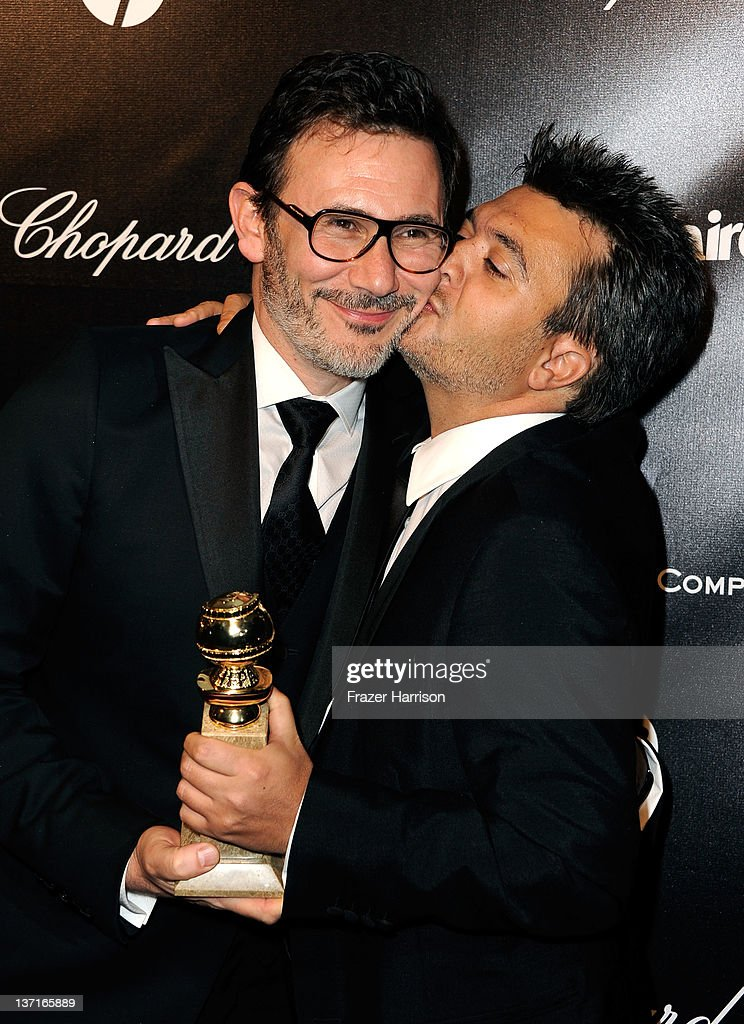 Director <a gi-track='captionPersonalityLinkClicked' href=/galleries/search?phrase=Michel+Hazanavicius&family=editorial&specificpeople=678372 ng-click='$event.stopPropagation()'>Michel Hazanavicius</a> (L) and Producer <a gi-track='captionPersonalityLinkClicked' href=/galleries/search?phrase=Thomas+Langmann&family=editorial&specificpeople=615516 ng-click='$event.stopPropagation()'>Thomas Langmann</a> arrive at The Weinstein Company's 2012 Golden Globe Awards After Party at The Beverly Hilton hotel on January 15, 2012 in Beverly Hills, California.