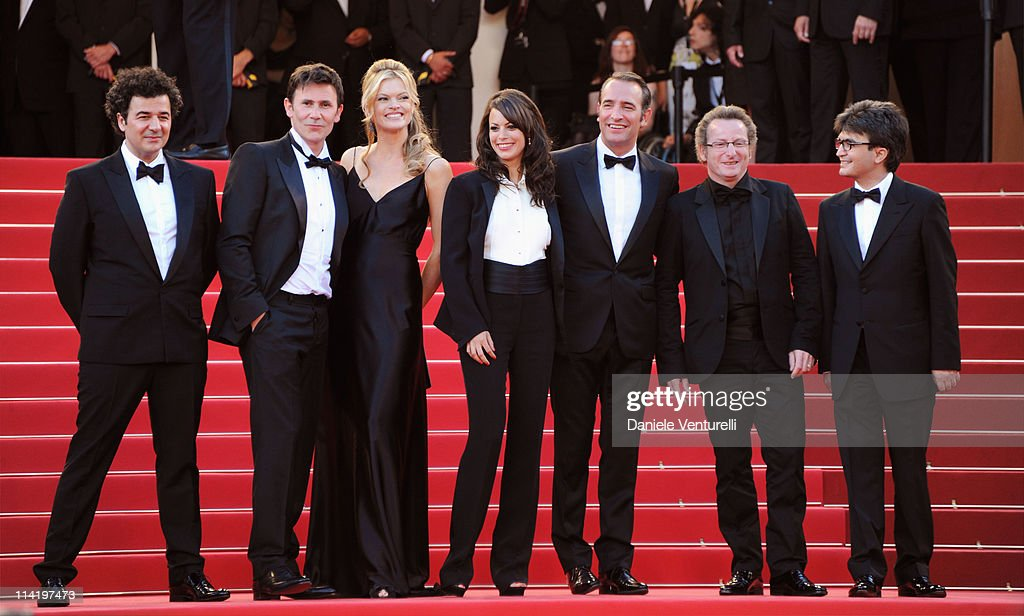 Director Michel Hazanavicius, Missy Pyle, Berenice Bejo, Jean Dujardin, cinematographer Guillaume Schiffman, and producer Thomas Langmann attend attends the 'The Artist' Premiere at the Palais des Festivals during the 64th Cannes Film Festival on May 15, 2011 in Cannes, France.