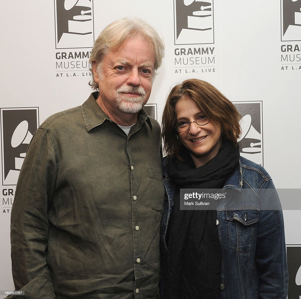 Director Mick Gochanaur (L) and producer Robin Klein pose before Reel to Reel: Rolling Stones 1965 Charlie Is My Darling at The GRAMMY Museum on October 3, 2013 in Los Angeles, California.