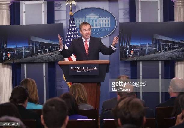 Director Mick Mulvaney speaks to the media about President Trump's budget during a briefing at the White House