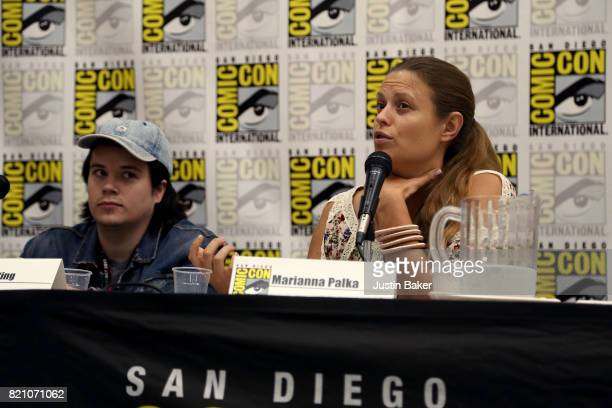 Director Mickey Keating and Writer Marianna Palka attend the Bold Voice of Contemporary Horror Panel at the 2017 ComicCon International on July 22...