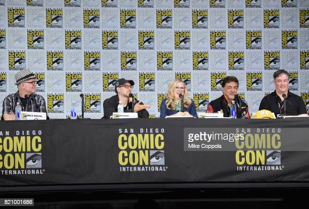 Director Mike B Anderson writer Matt Selman actors Nancy Cartwright and Joe Mantegna and producer Al Jean attend 'The Simpsons' panel during ComicCon...