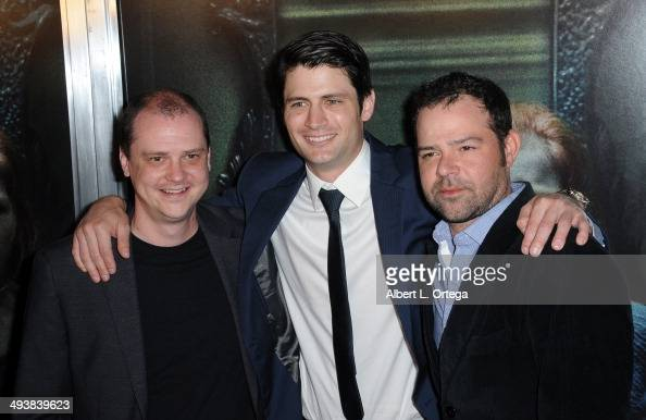 Director Mike Flanagan actors James Lafferty and Rory Cochran attend the Screening Of Relativity Media's 'Oculus' held at TLC Chinese 6 Theatres on...