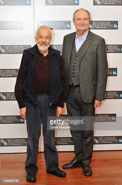 Director Mike Leigh and actor Jim Broadbent attend the 'Another Year' photocall during the 54th BFI London Film Festival at the Vue West End on...