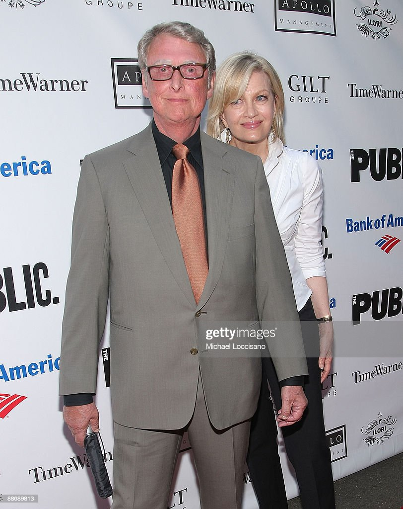 Director <a gi-track='captionPersonalityLinkClicked' href=/galleries/search?phrase=Mike+Nichols+-+Film+Director&family=editorial&specificpeople=204462 ng-click='$event.stopPropagation()'>Mike Nichols</a> and his wife, television journalist Diane Sawyer attend the 2009 Shakespeare in the Park opening night gala performance of 'Twelfth Night' at the Delacorte Theater on June 25, 2009 in New York City.