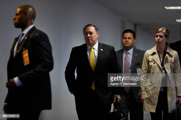 Director Mike Pompeo arrives for a meeting of the Senate Select Committee on Intelligence on Capitol Hill April 6 2017 in Washington DC The Committee...