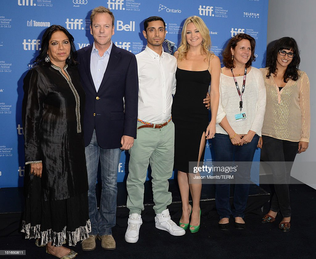 Director Mira Nair actor Kiefer Sutherland actor Riz Ahmed actress Kate Hudson producers Lydia Dean Pilcher and Ami Boghani attend 'The Reluctant...
