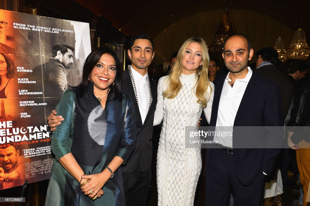 Director Mira Nair actor Riz Ahmed actress Kate Hudson and author Mohsin Hamid attend the 'Reluctant Fundamentalist' Pre Party during the 2013...