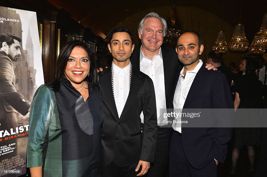 Director Mira Nair actor Riz Ahmed President of IFC Films Jonathan Sehring and author Mohsin Hamid attend the 'Reluctant Fundamentalist' Pre during...