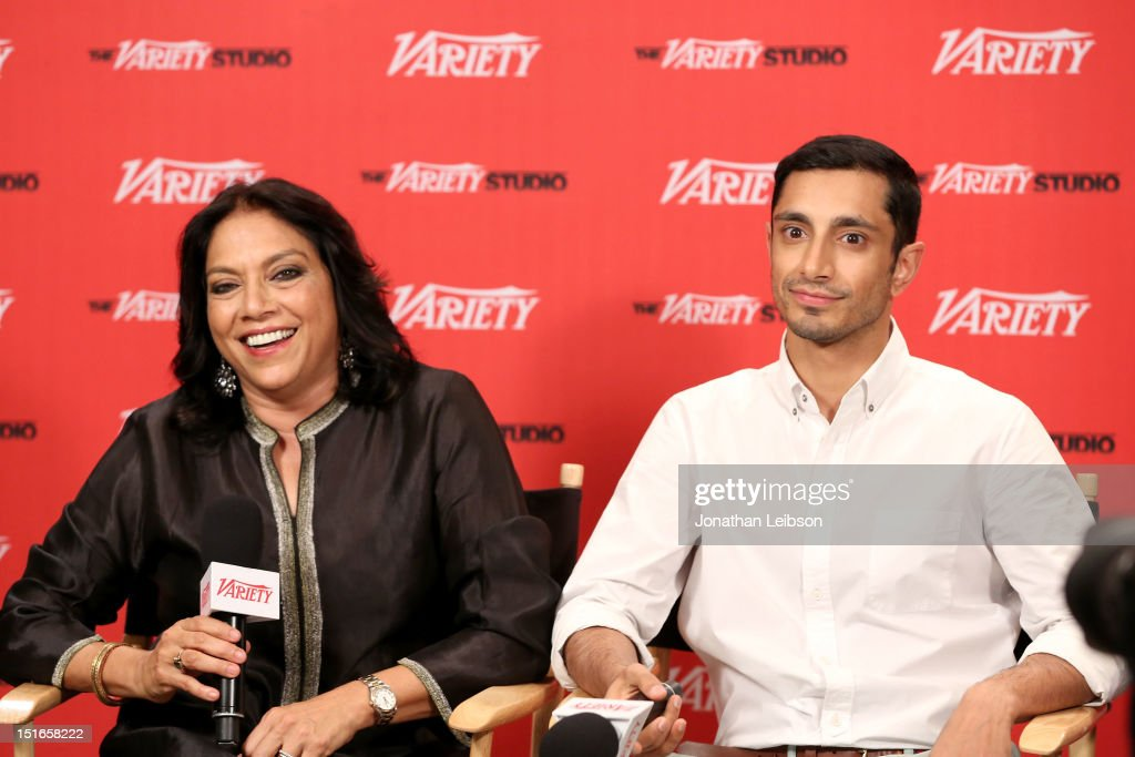 Director <a gi-track='captionPersonalityLinkClicked' href=/galleries/search?phrase=Mira+Nair&family=editorial&specificpeople=214181 ng-click='$event.stopPropagation()'>Mira Nair</a> (L) and producer Riz Ahmed attend Variety Studio presented by Moroccanoil at Holt Renfrew on Day 2 at Holt Renfrew, Toronto during the 2012 Toronto International Film Festival on September 9, 2012 in Toronto, Canada.