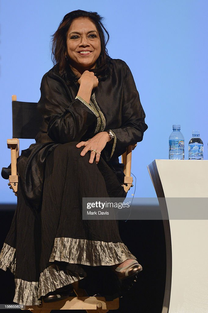 Director <a gi-track='captionPersonalityLinkClicked' href=/galleries/search?phrase=Mira+Nair&family=editorial&specificpeople=214181 ng-click='$event.stopPropagation()'>Mira Nair</a> speaks at the Global Landscape Making 'The Reluctant Fundamentalist' at the Katara Drama Theatre during the 2012 Doha Tribeca Film Festival on November 18, 2012 in Doha, Qatar.