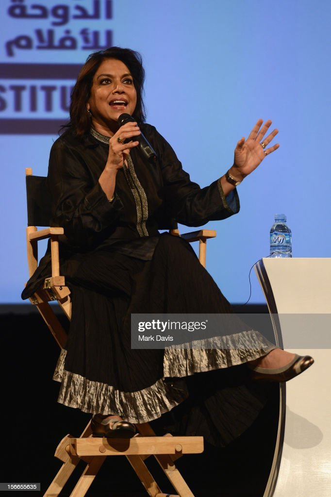 Director Mira Nair speaks at the Global Landscape Making 'The Reluctant Fundamentalist' at the Katara Drama Theatre during the 2012 Doha Tribeca Film Festival on November 18, 2012 in Doha, Qatar.