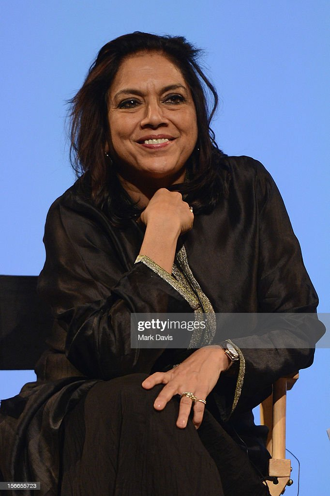 Director Mira Nair speaks at the Global Landscape Making 'The Reluctant Fundamentalist' at the Katara Drama Theatre during the 2012 Doha Tribeca Film...