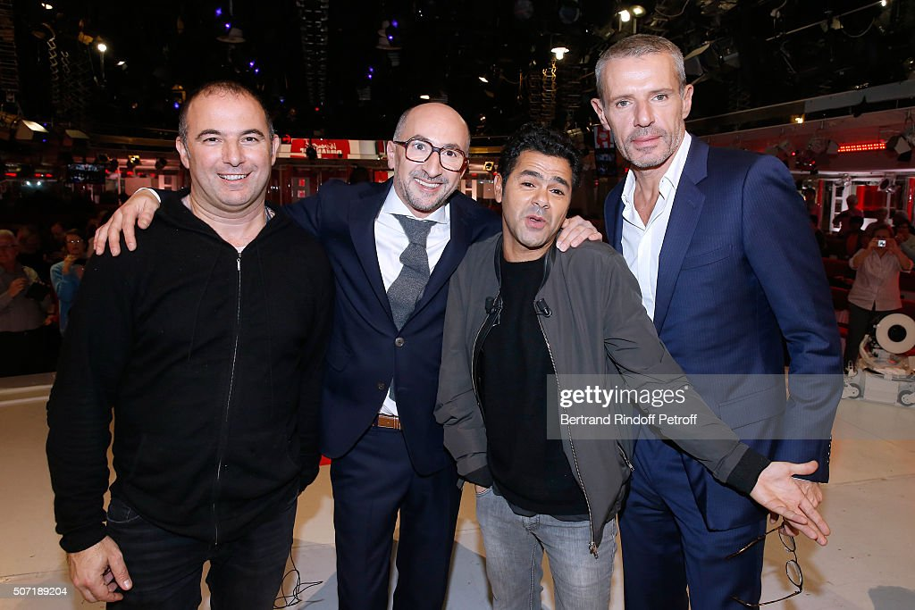 Director Mohamed Hamidi, Actors Fatsah Bouyahmed, Jamel Debbouze and Lambert Wilson present the Movie 'La Vache' during the 'Vivement Dimanche' French TV Show at Pavillon Gabriel on January 27, 2016 in Paris, France.