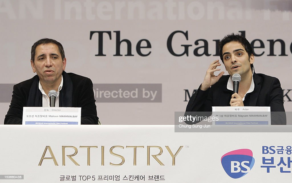 Director Mohsen Makhmalbaf, and actor Maysam Makhmalbaf attend the 'Gardener' gala presentation and press conference at the Shinsegae Centumcity cultural hall during the 17th Busan International Film Festival (BIFF) at the Busan Cinema Center on October 8, 2012 in Busan, South Korea. The biggest film festival in Asia showcases 304 films from 75 countries and runs from October 04 until October 13..