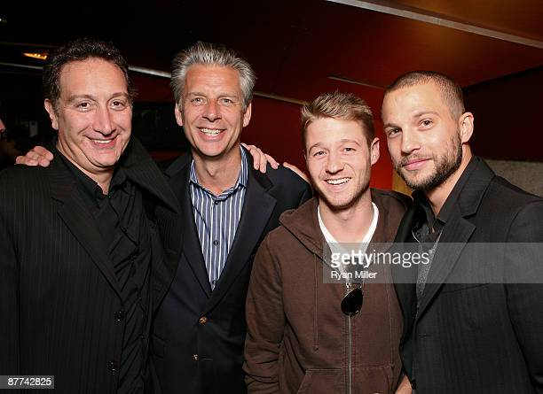 Director Moises Kaufman CTG Artistic Director Michael Ritchie actor Ben McKenzie and actor James Dean pose during the opening night party for 'Bengal...