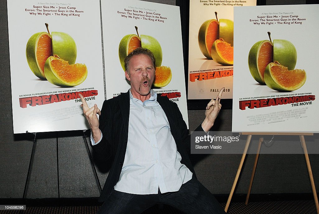 Director <a gi-track='captionPersonalityLinkClicked' href=/galleries/search?phrase=Morgan+Spurlock&family=editorial&specificpeople=212719 ng-click='$event.stopPropagation()'>Morgan Spurlock</a> attends the 'Freakonomics' premiere at Cinema 2 on September 29, 2010 in New York City.