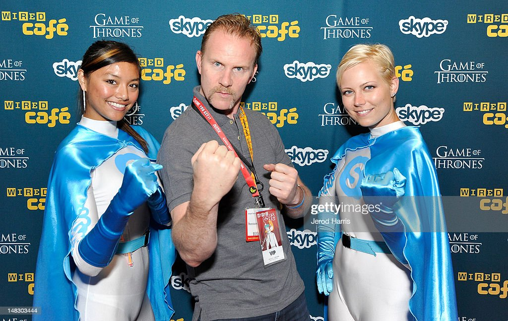 Director Morgan Spurlock (C) attends WIRED Cafe At Comic-Con held at Palm Terrace at the Omni Hotel on July 13, 2012 in San Diego, California.
