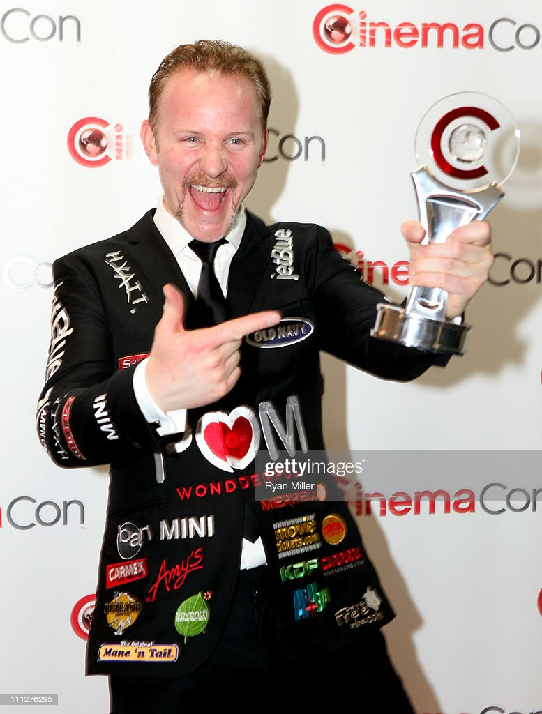 Director <a gi-track='captionPersonalityLinkClicked' href=/galleries/search?phrase=Morgan+Spurlock&family=editorial&specificpeople=212719 ng-click='$event.stopPropagation()'>Morgan Spurlock</a> poses with his Documentary Filmmaker of the Year award during CinemaCon, the official convention of the National Association of Theatre Owners, at The Colosseum of Caesars Palace on March 30, 2011 in Las Vegas, Nevada.