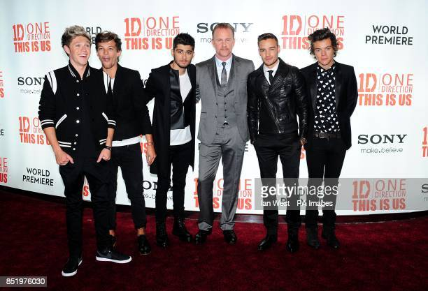 Director Morgan Spurlock with Niall Horan Louis Tomlinson Zayn Malik Liam Payne and Harry Styles at the World Premiere of One Direction This Is Us at...