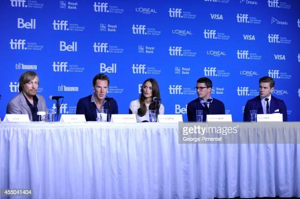 Director Morten Tyldum actor Benedict Cumberbatch actress Keira Knightley actor Matthew Goode and actor Alan Leech of 'The Imitation Game' speak...