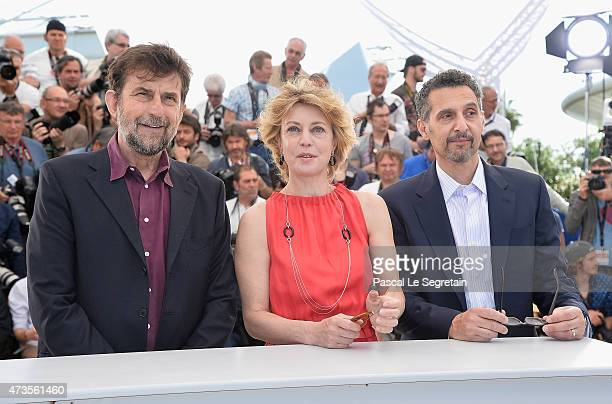 Director Nanni Moretti and actors Margherita Buy and John Turturro attend the 'Mia Madre' Photocall during the 68th annual Cannes Film Festival on...