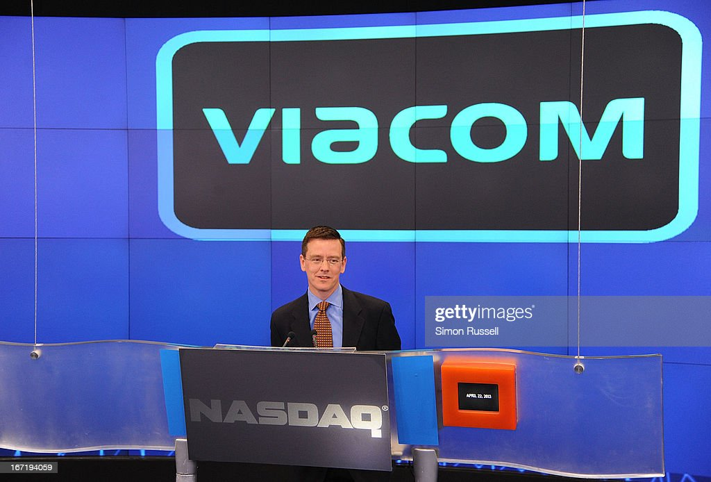 Director NASDAQ OMX Robert Phillips introduces Viacom President & CEO Philippe Dauman to ring the NASDAQ Stock Market opening bell in honor of Viacommunity Day at the NASDAQ MarketSite on April 22, 2013 in New York City.