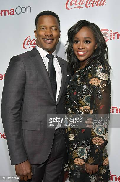 Director Nate Parker recipient of the Breakthrough Director of the Year Award and actress Aja Naomi King attend the CinemaCon Big Screen Achievement...