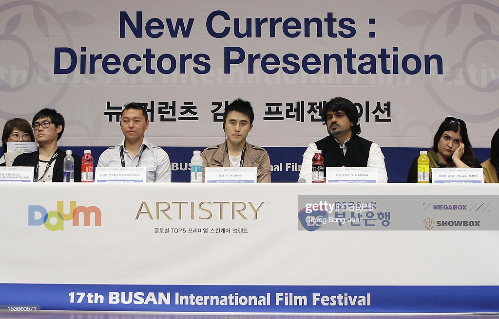 Director Nawapol Thamrongrattanarit of Thailand, Vicent Sandoval of Philippines, Lee Dong-Ku of South Korea, Nitin Kakkar of India and Maryam Najafi of Lebanon attend the 'New Currents' press conference at the Shinsegae Centumcity cultural hall during the 17th Busan International Film Festival (BIFF) at the Busan Cinema Center on October 8, 2012 in Busan, South Korea. The biggest film festival in Asia showcases 304 films from 75 countries and runs from October 04 until October 13..