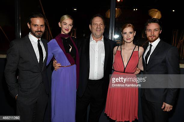 Director Ned Benson actress Jess Weixler film producer Harvey Weinstein actress Jessica Chastain and actor James McAvoy attend the Prada and The...
