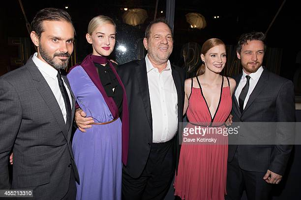 Director Ned Benson actress Jess Weixler film producer Harvey Weinstein actress Jessica Chastain and actor James McAvoy attend the screening of The...