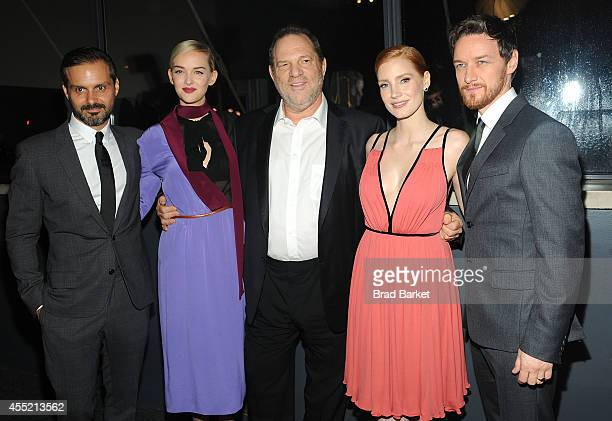Director Ned Benson Jess Weixler Harvey Weinstein Jessica Chastain and James McAvoy attend Prada And The Cinema Society Host A Screening Of The...