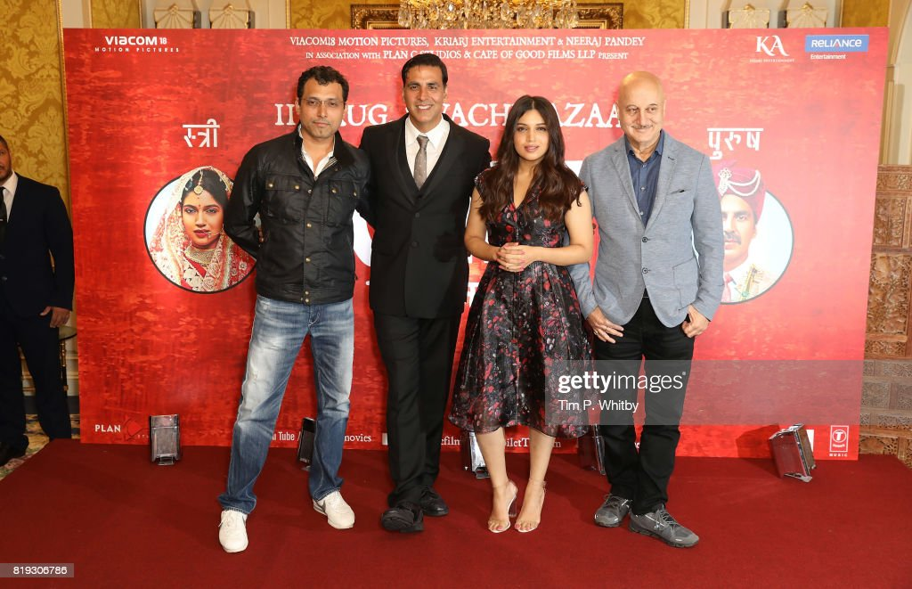 Director Neeraj Pandey and actors Anupam Kher, Bhumi Pednekar and Akshay Kumar attending the 'Toilet: Ek Prem Katha (A Love Story)' Photocall, the worlds first feature film on the open-defecation crisis, at The Bentley Hotel on July 20, 2017 in London, England.