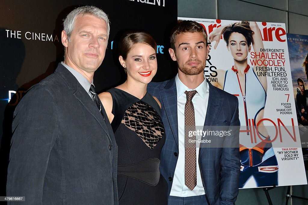 Director Neil Burger actress Shailene Woodley and actor Theo James attend the Marie Claire The Cinema Society screening of Summit Entertainment's...