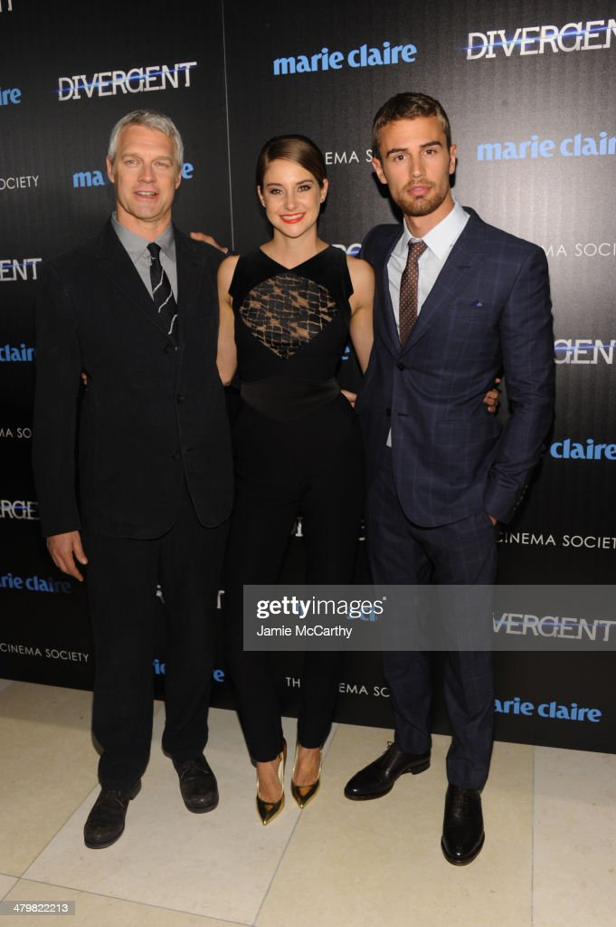 Director Neil Burger Shailene Woodley and Theo James attend the Marie Claire The Cinema Society screening of Summit Entertainment's 'Divergent' at...