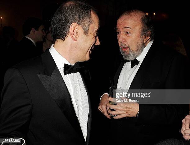 Director Nicholas Hytner and Sir Peter Hall attend the London Evening Standard Theatre Awards at The Savoy Hotel on November 28 2010 in London England