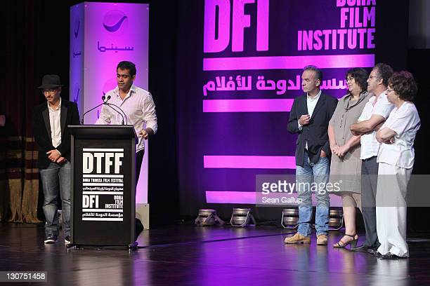 Director Nick Broomfield Chadi Zeneddine and Hakim Belabbes present Filmmaker Namir Abdel Messeeh of 'The Virgin The Copts and Me' Best Arab...