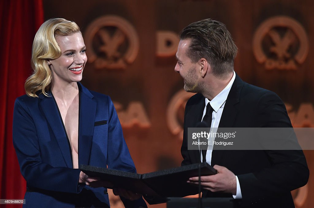 Director Nicolai Fuglsig with actress January Jones accepts the Outstanding Directorial Achievement in Commercials onstage during at the 67th Annual...