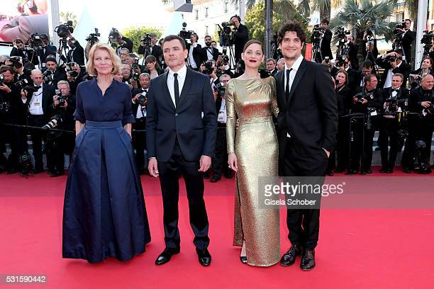 Director Nicole Garcia actor Alex Brendemuehl actress Marion Cotillard and actor Louis Garrel attend the 'From The Land Of The Moon ' premiere during...