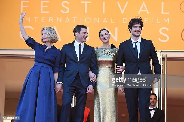 Director Nicole Garcia actor Alex Brendemuhl actress Marion Cotillard and actor Louis Garrel attend the 'From The Land Of The Moon ' premiere during...