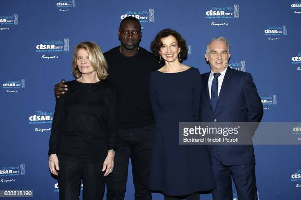Director Nicole Garcia Actor Omar Sy Minister Audrey Azoulay and President of Academie des Cesars Alain Terzian attend Nominee Luncheon Cesar 2017 at...