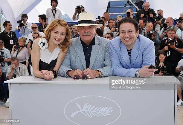 Director Nikita Mikhalkov actress Nadezhda Mihalkova and actor Oleg Menshikov attend the 'The Exodus Burnt By The Sun' photocall at the Palais des...