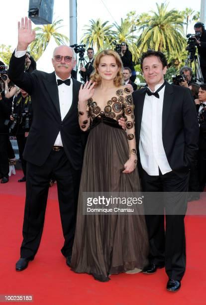 Director Nikita Mikhalkov actress Nadezhda Mihalkova and actor Oleg Menshikov attend 'The Exodus Burnt By The Sun 2' Premiere held at the Palais des...