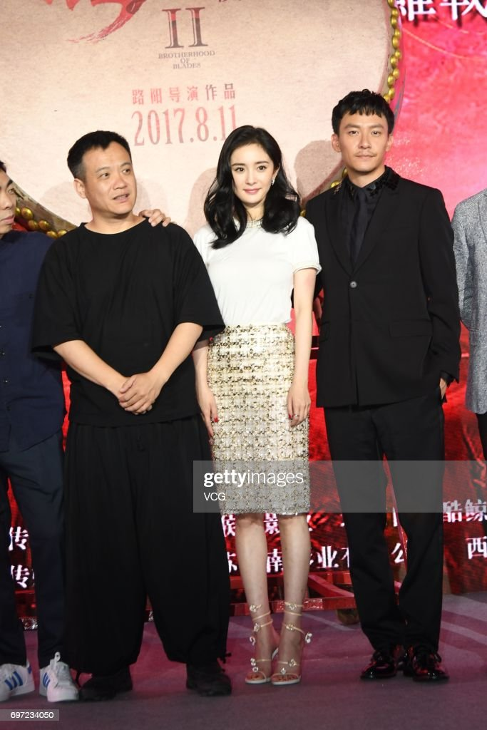 Director Ning Hao, actress Yang Mi and actor Chang Chen attend the press conference of film 'Brotherhood of Blades 2' during the 20th Shanghai International Film Festival on June 18, 2017 in Shanghai, China.