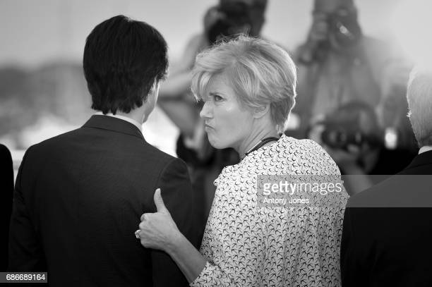 Director Noah Baumbach actors Emma Thompson and Dustin Hoffman attend 'The Meyerowitz Stories' photocall during the 70th annual Cannes Film Festival...